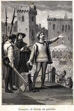 1268.Napoli: Decapitazione Corradino di Svevia.Re di Sicilia. Stampa Antica.1884