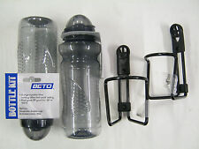 2 x CYCLE DRINKS WATER BOTTLES With Cap + 2 x CAGES BLACK ALUMINIUM + screws New