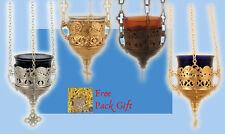 Orthodox Hanging Vigil Lamp Lace Design +FREE Wicks Ikonenampel Kantili Kandilo