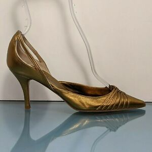 COLE HAAN Italy Womens 6 Gold Leather Pointed D'Orsay Strappy Pumps Heels Shoes