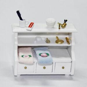 1/12 Dollhouse  Bathroom Drawer Cabinet Shelf  Miniature Furniture Wooden Toilet