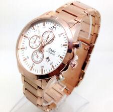 297P Fashion Men's Wrist Watch Rose Gold Strap Analogue Dial Chronograph Date