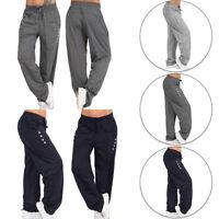 Women's Elastic Waist Drawstring Long Pants Casual Loose Pants Solid S-5XL AUS