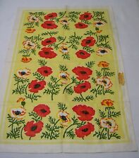 Oriental Poppies Vintage Kitchen Linen Tea Towel Made in Poland