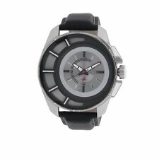 Mens Casual Watch Quartz Mineral Glass Water Resistant Leather Strap Black Grey