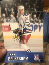 JEFF BEUKEBOOM NEW YORK RANGERS SIGNED MSG PLAYER POSTCARD 5x7