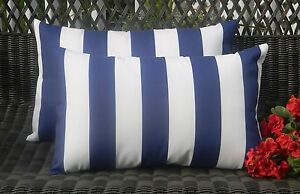 Set of 2 Navy Indigo Blue & White Stripe In Outdoor Rectangle / Lumbar Pillows