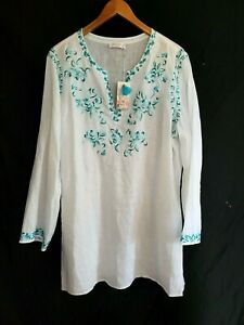 Womens Plus Size Johnny Was White Linen Embroidered Tunic 2XL will fit 1X NWT