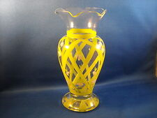 Lovely Hand Painted Clear Glass Vase With Intricate Detail - Has Scalloped Top