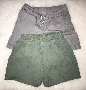 Tea Collection+Cat & Jack Short Girls 7/8 Linen/Cotton Elastic waist Green Gray