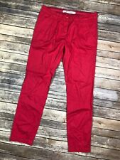 Zara TRF Trafaluc Premium Women's 4 Pink Red Pleated Pants Jeans Straight Leg