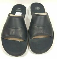 Timberland Sandals Mens Ammon Slide Black Leather 49524 Comfort Casual Size 13