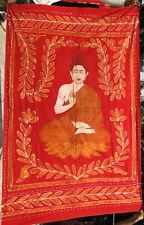 Bouddha Couvre-lit Tenture Batik Rouge Fait main Bouddhisme Nepal Tibet Inde