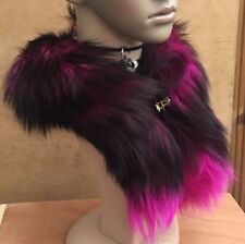 hot pink black genuine real fox tail fur collar scarf neck warmer shawl stole