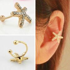 1pc Fashion Women Personality Crystal Starfish Charm Ear Clip Cuff Earring Stud