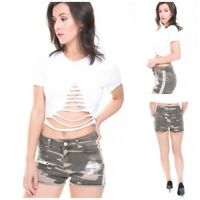 WOMEN'S LADIES DISTRESSED SIDE STRIPED CAMOUFLAGE DENIM HOT PANTS JEANS SHORTS