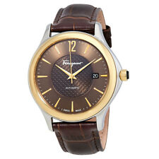 Ferragamo Time Automatic Brown Dial Brown Leather Mens Watch FFT030016