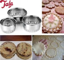 3 Metal Round shaped biscuit cookie pastry pies tarts & mini-quiches cutter