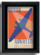 More details for british airways framed repro poster paris scandinavia lockheed lee-elliott 1937