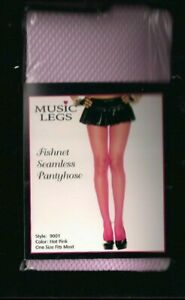 Music Legs Tights Nylon Fishnet One Size Hot Pink