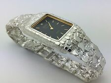 "Men's Geneve Sterling Silver Nugget Style 8"" Wrist Rectangle Watch with Diamond"