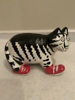 B. Kliban Cat KNOCKOFF Red Sneakers Coin Bank Ceramic Figurine