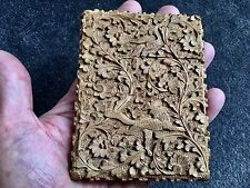 ANTIQUE ANGLO INDIAN DEEPLY CARVED SANDALWOOD CARD CASE STRONGLY PERFUMED.1880