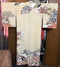 Antico Cinese + Giapponese di seta stampata Kimono Accappatoio tessile