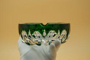 1900's SAINT LOUIS AMBASSADEUR ASHTRAY GREEN CLEAR CUT CRYSTAL LARGE BOWL FRANCE