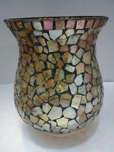 "Mosaic Glass Blue Tile Hurricane Candle Holder or Vase 8.5"" X20"" T"