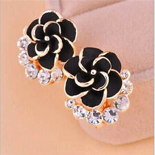 New Korean Rose Earrings Black Flower Crystal Earrings Earrings  A045