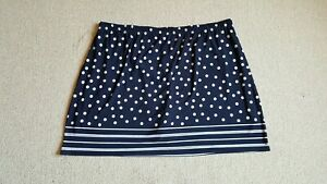 Womens Skort-SUSAN GRAVER-navy blue/white polka dot stretch knit pull-on-2X