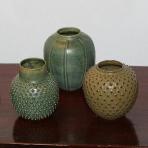 Ditte Lindberg Mortensen 3 Vases. Danish Stoneware / Porcelain. Ceramik. NEW