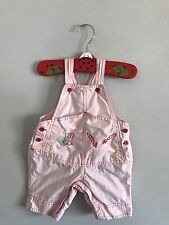 Hanna Andersson 50 Pink Shorts Overalls Cotton Bunnies & Carrots 0-3 Months