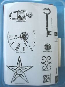 Stampin' Up ARTIFACTS Rubber Stamps METAL STAR Key LOCK Clock COLLAGE 2005