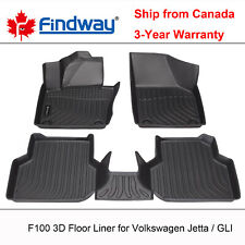 Findway F100 3D Car Floor Mat / Liner for 2011-2018 VW Volkswagen Jetta/GLI Sed.