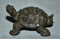"""2.4 """"Collect Rare Chinois Rouge Cuivre Sculpture Feng Shui Tortue Tortue Statue"""