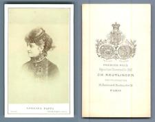 Adelina Patti, cantatrice Vintage carte de visite, CDV  Tirage albuminé  6,5