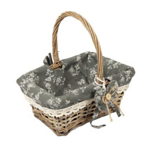 WOODLUV Vintage Rectangle Wicker Hamper Storage Basket With Long Handle Grey