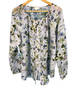 J Jill Womens Top Long Sleeves Blouse Button Up Floral Purple Size Large L
