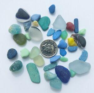 20g Rare Sea Glass Nuggets Chips Milk Red Cobalt Multi Yellow Grey Jadite Set 9