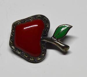 Stamped 925 Green Enamel Red Jasper Marcasite APPLE  Shape Pin Brooch 6.72g