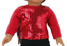 """For 18"""" American Girl Doll Clothes Bling Christmas Red Sequin T-Shirt"""