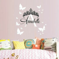 Personalised Name Crown Tiara Girl Wall Stickers Quality  Bedroom Girls Decal