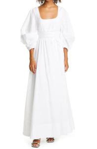 Staud Women's Juliette Maxi Dress 3/4 Blouson Sleeves Peasant Style Size 8
