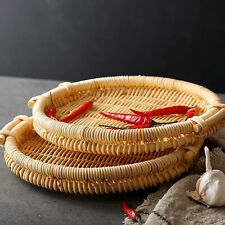 Rattan Round Square Household Room Biscuit Cakes Candy Nuts Storage Tray Basket