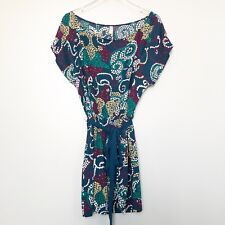 Maeve Anthropologie Womens Dress Blue Polka Dot Paisley Tie Waist Cap Sleeve L
