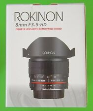 NEW ROKINON 8mm f/3.5 HD Fisheye Lens with Removable Hood & AE Chip for Canon EF