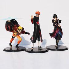 3pcs/set Uzumaki Naruto + Pain + Uchiha Sasuke 17-19cm Pvc Figure Usa Stock