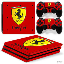PS4 Pro Playstation 4 Console Skin Decal Sticker Ferrari + 2 Controller Skins